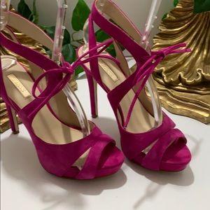 Guess Hedday Dark Pink Suede Heels